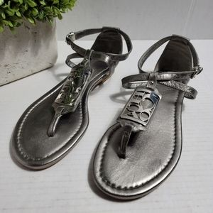 Coach Silver Metallic Odele Branded Strap Sandals